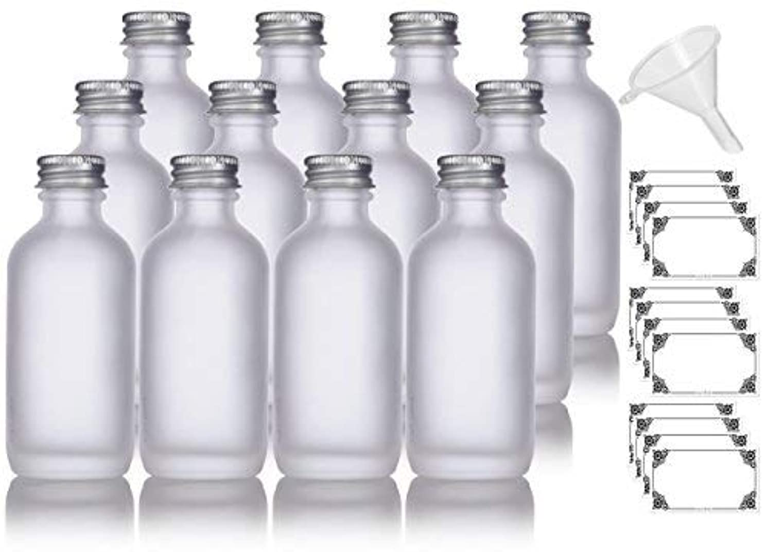 もつれ慢な不均一2 oz Frosted Clear Glass Boston Round Silver Screw On Cap Bottle (12 pack) + Funnel and Labels for cosmetics,...