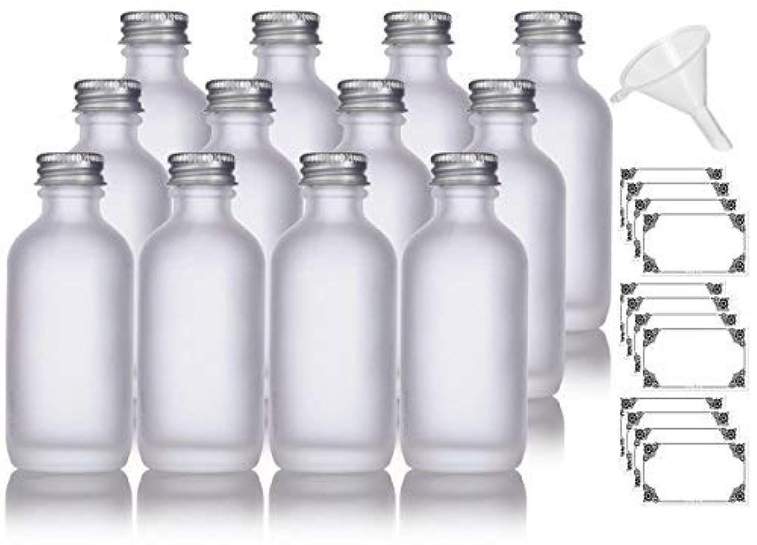 インフルエンザ損傷速度2 oz Frosted Clear Glass Boston Round Silver Screw On Cap Bottle (12 pack) + Funnel and Labels for cosmetics,...