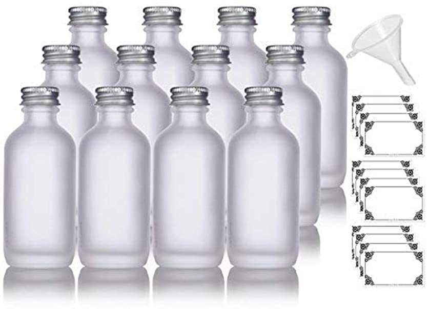 衰える用心深いアイザック2 oz Frosted Clear Glass Boston Round Silver Screw On Cap Bottle (12 pack) + Funnel and Labels for cosmetics,...