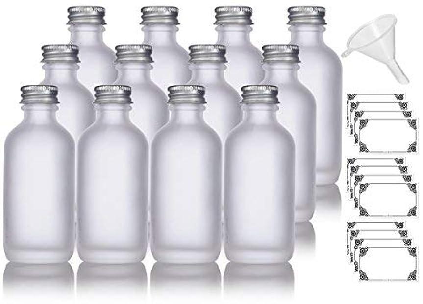 壊滅的な句読点縫う2 oz Frosted Clear Glass Boston Round Silver Screw On Cap Bottle (12 pack) + Funnel and Labels for cosmetics,...