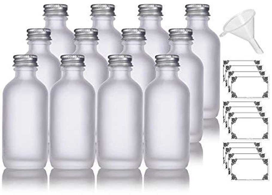 年次着替えるデクリメント2 oz Frosted Clear Glass Boston Round Silver Screw On Cap Bottle (12 pack) + Funnel and Labels for cosmetics,...