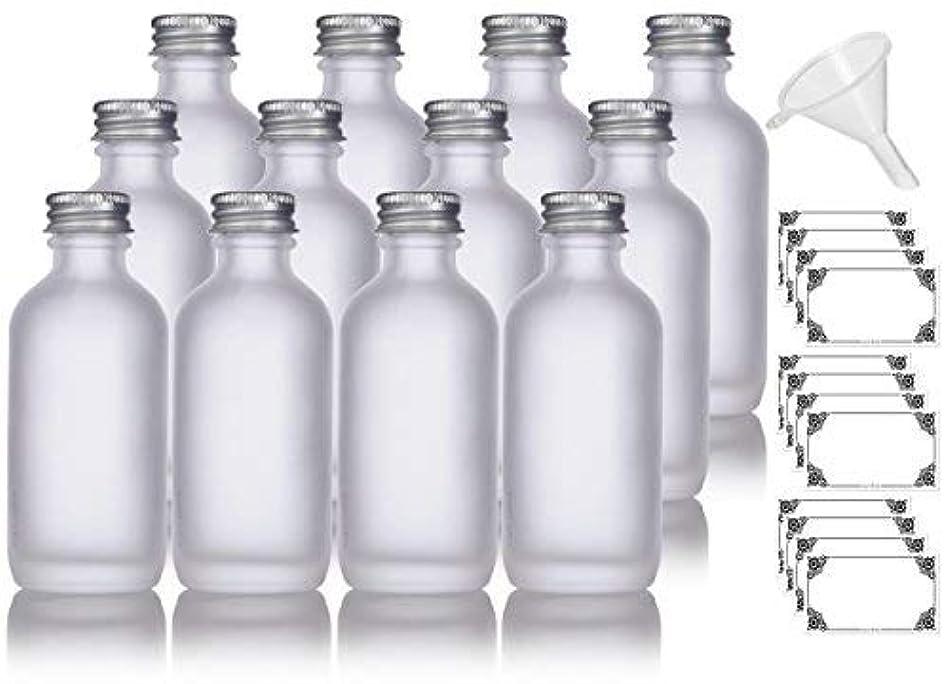 二年生解き明かす十2 oz Frosted Clear Glass Boston Round Silver Screw On Cap Bottle (12 pack) + Funnel and Labels for cosmetics,...