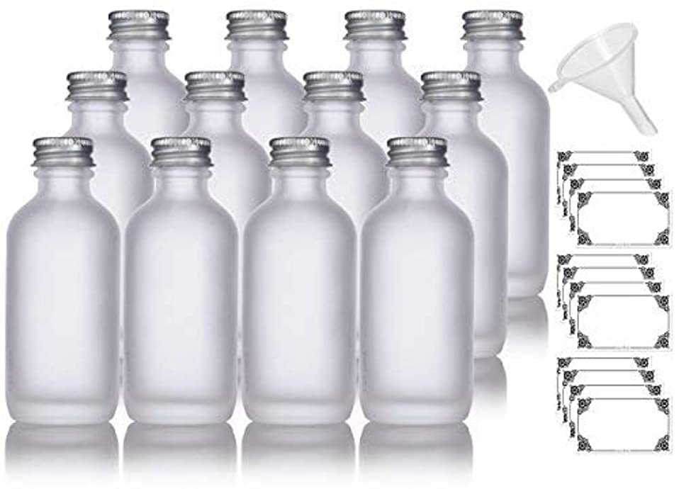 2 oz Frosted Clear Glass Boston Round Silver Screw On Cap Bottle (12 pack) + Funnel and Labels for cosmetics,...