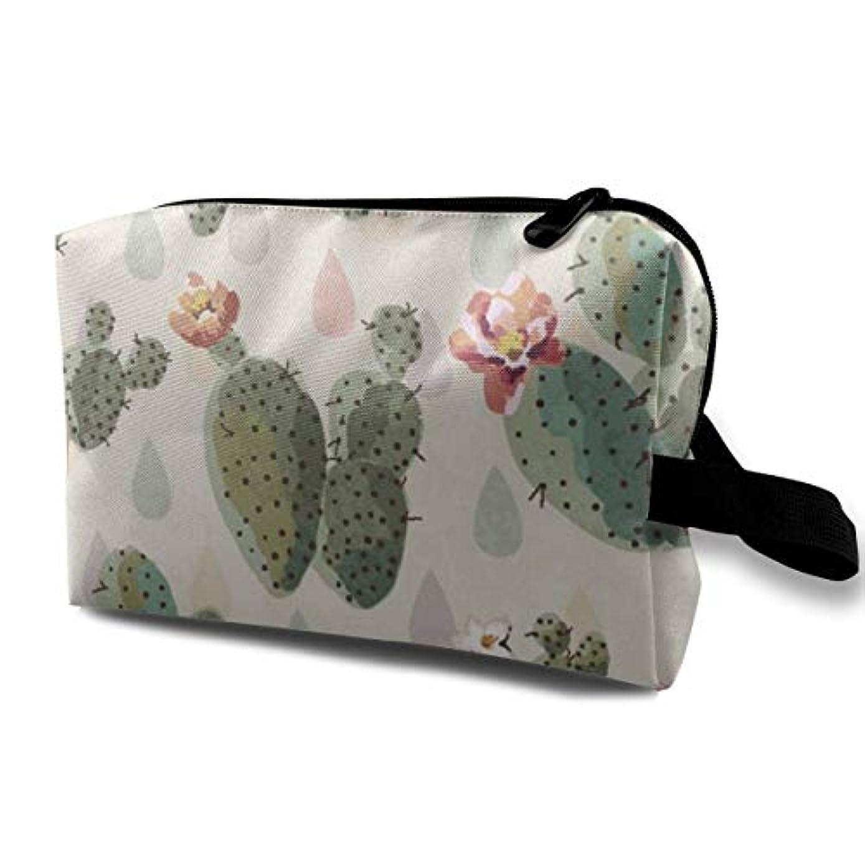 恐ろしい気取らない促進するPrickly Pattern Cactus Flowers 収納ポーチ 化粧ポーチ 大容量 軽量 耐久性 ハンドル付持ち運び便利。入れ 自宅?出張?旅行?アウトドア撮影などに対応。メンズ レディース トラベルグッズ