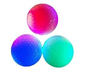 (Rurumi) LED 内蔵 発光 ゴルフ ボール セット ナイターゴルフ 練習に最適 (3個セット)