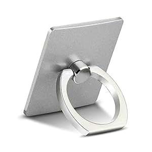 OSEI スマホリングスタンド バンカーリング 360°回転リングホルダー スマートフォン・タブレットに簡単装着で 落下防止 スタンド機能 (シルバー)
