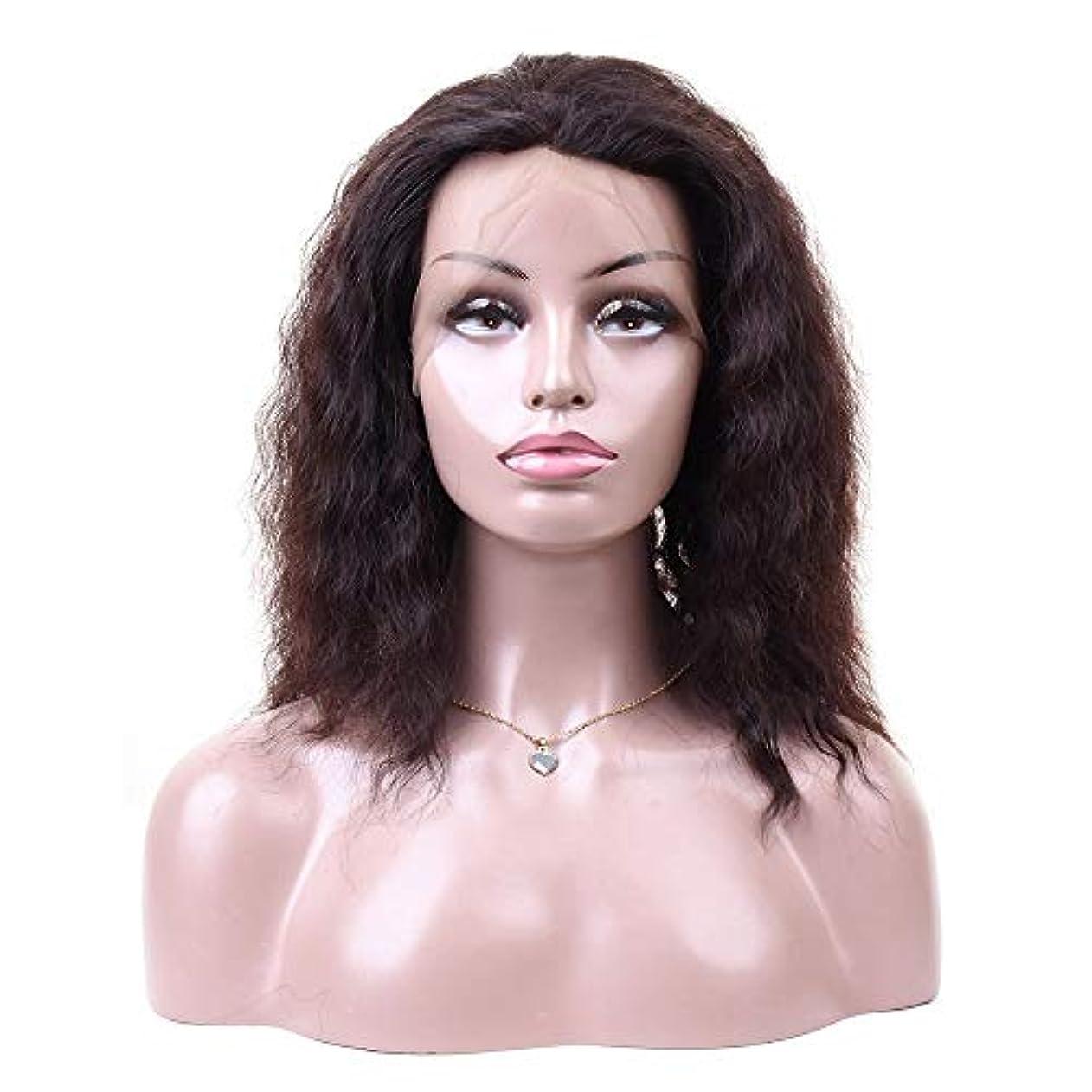 鉛いわゆる憂鬱WASAIO 女性の自然なレースのヘアエクステンションクリップの正面閉鎖難解ウェーブレース前頭人毛ウィッグUnseamed (色 : 黒, サイズ : 10 inch)