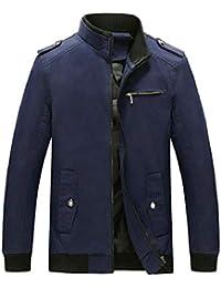 gawaga メンズアウトドアファッションスリムフィットロングスリーブスタンドカラーライトジャケット