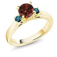 Gem Stone King 1.2カラット 天然 ガーネット 天然 ブルーダイヤモンド シルバー925 イエローゴールドコーティング 指輪 リング