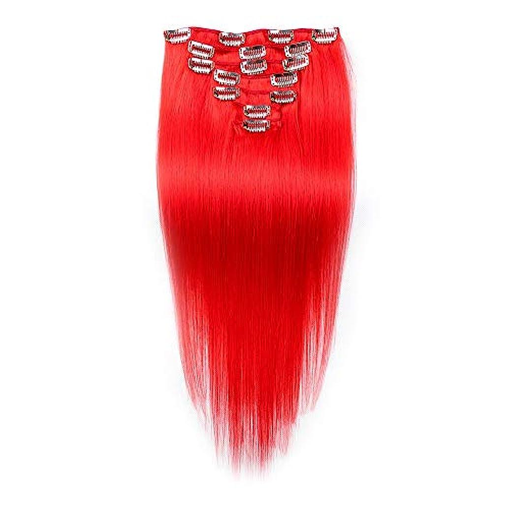 定刻メジャー円周HOHYLLYA ダブル横糸レミー人間の髪の毛のクリップ本物の髪の拡張子フルヘッド - 20インチ赤毛ロールプレイングかつら女性のかつら (色 : レッド)