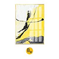 モダンなミニマリスト抽象アールデコ絵画北欧スタイルのソファ背景壁手描き水彩壁画トリプル絵画,セクションB,60x80cm(アルミニウム合金フレーム+プレキシガラス)