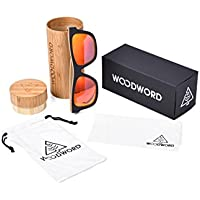 WOODWORD Wood Sunglasses Men Polarized Wayfarer - Wood Frame Sunglasses with Wood Case