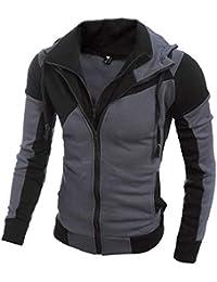 Keaac メンズファッションダブルジッパークローザーフーディースウェットシャツジャケット