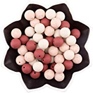Mamimami Home Silicone Beads, Red, 3 Colors, 0.6 inches (15 mm), 60 Pieces, Black Hemp Color, Round Ball, Sili