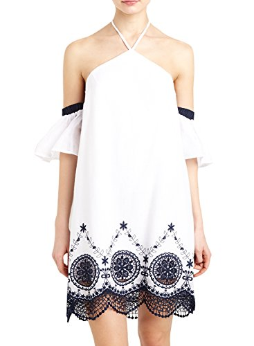 (アチックガール)Achicgirl レディース ファッション 白 ホルターネック バックレス オフショルダー 半袖 きれいめ 花柄レース裾 ミニ ワンピース