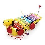 SHINA 木製 ワンちゃんシロフォンカー キーズ用/子供用 赤ちゃんのおもちゃ 鉄琴 知育 音のでるおもちゃ 打楽器 メタル シロホン カラフル 知育玩具 幼児教育 知育教材 知育ラーニングトイ 玩具
