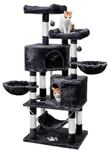 キャットタワー 人気 猫タワー 巨大サイズ ネコタワー 大型猫 多頭飼い 2つ猫ハウス ハンモック 猫 遊び場 頑丈耐久 段差あり 天然サイザル麻 匂いなし (ダークグレー)