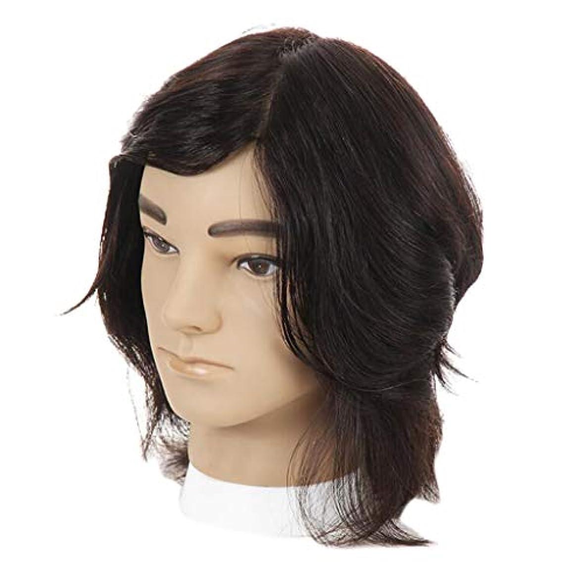 学習者縫うフェッチマネキンヘッド ディスプレイ スタンド ウィッグ 男性 人間の髪の毛 ヘアプラクティスヘッド 全2色 - ブラック