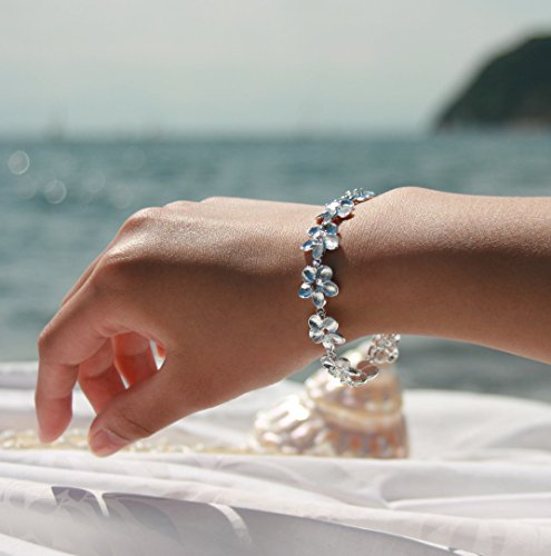 PikiPea (ピキペア) ブレスレット Bracelet ぐるっと プルメリア の SV 925 ジルコニア ブレスレット
