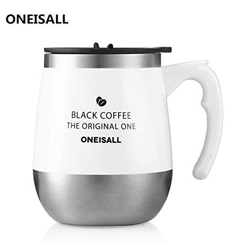 ONEISALL マグカップ 450ML 保温マグカップ 専門店 真空断熱タンブラー コーヒー用ボトル 蓋付きカップ おしゃれ 麦茶 フタ付きマグ 彼女、彼氏にプレゼント 恋人 学生にギフト (ホワイト)