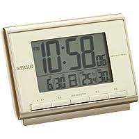 セイコー クロック 目覚まし時計 電波 デジタル カレンダー 温度 湿度 表示 薄ピンク ゴールド SQ698C SEIKO