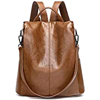 Anti-theft Female Backpack, DRENECO Ladies Leather Backpack Casual Travel Bag Daypack School Backpacks Satchel