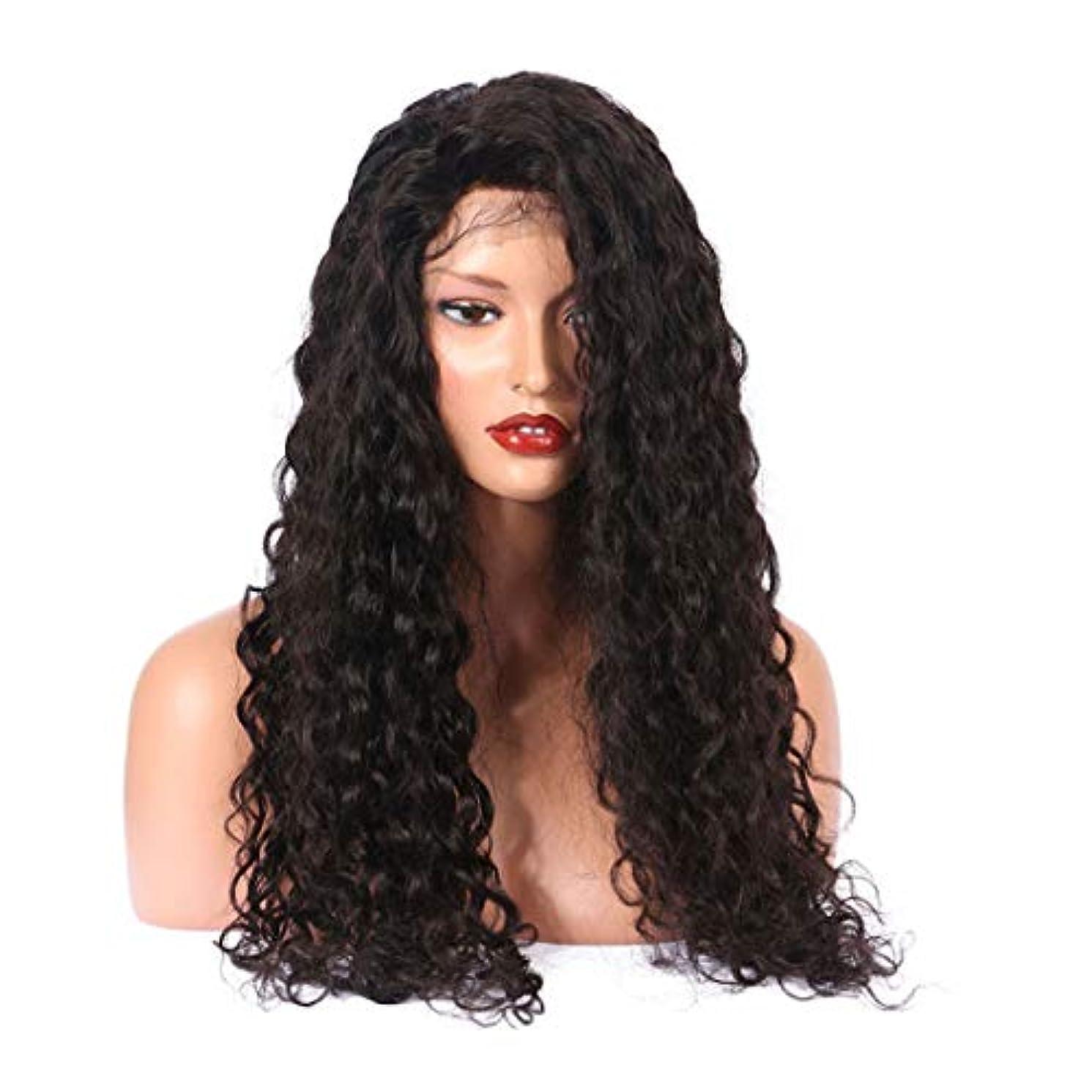 エキゾチック光沢のある耐えられないFuku つけ毛 グルーレスレースフロントかつら女性のための長くナチュラルカーリー高密度合成レースかつら (色 : 黒)