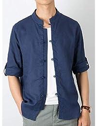 gawaga メンズチャイナスタイルスタンドカラーロングスリーブコットンリネンボタンダウンドレスシャツ
