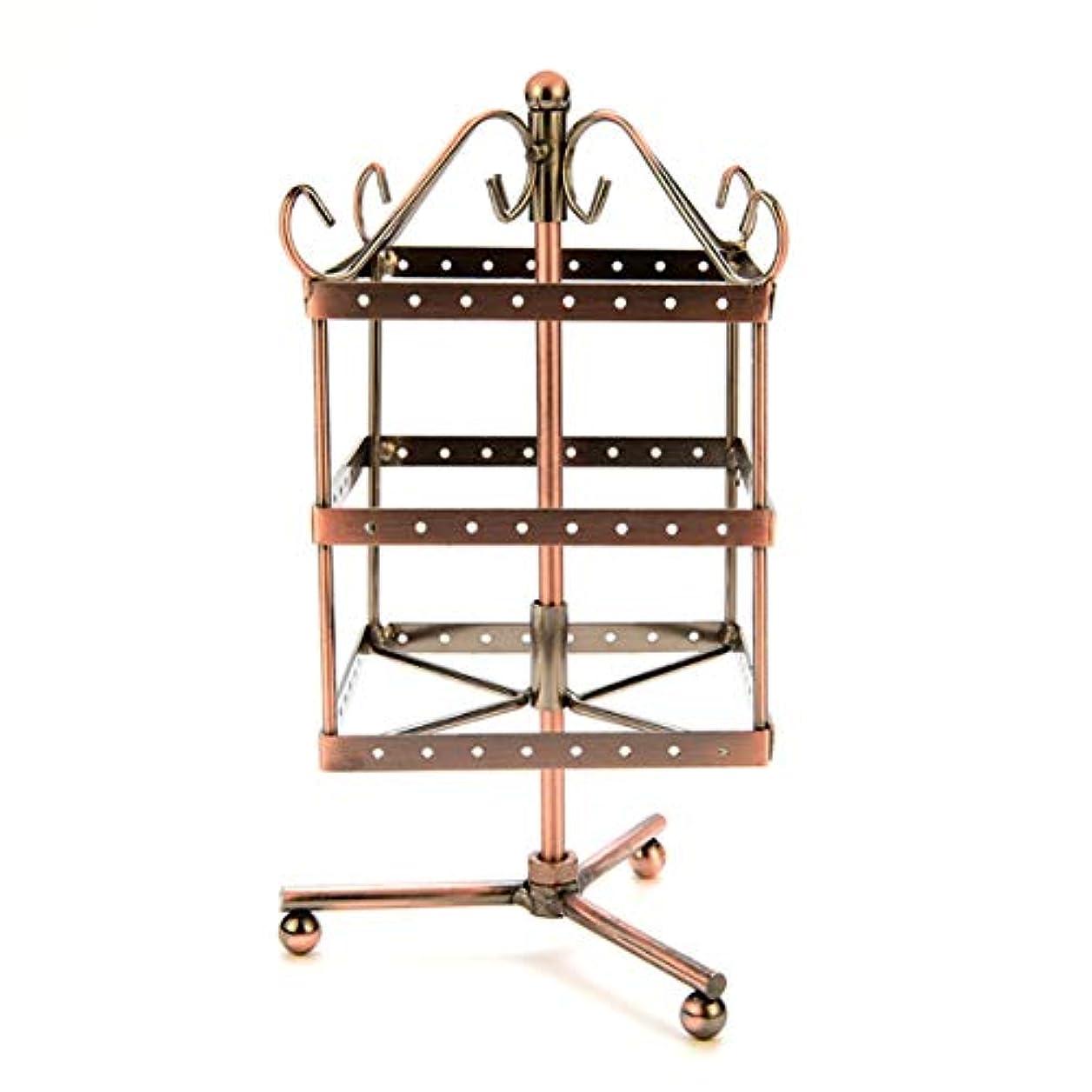 温度計おもしろい成り立つIntercorey Jewelry Frame 96穴回転イヤリングホルダーアイアンジュエリーディスプレイスタンド三層イヤリングホルダーペンダント