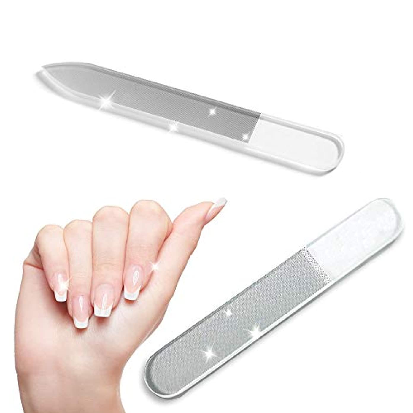 超越する盲信洗う【お得な2点セット】爪やすり ガラス 爪磨き ツヤ出し ケース付属 ネイルシャイナー