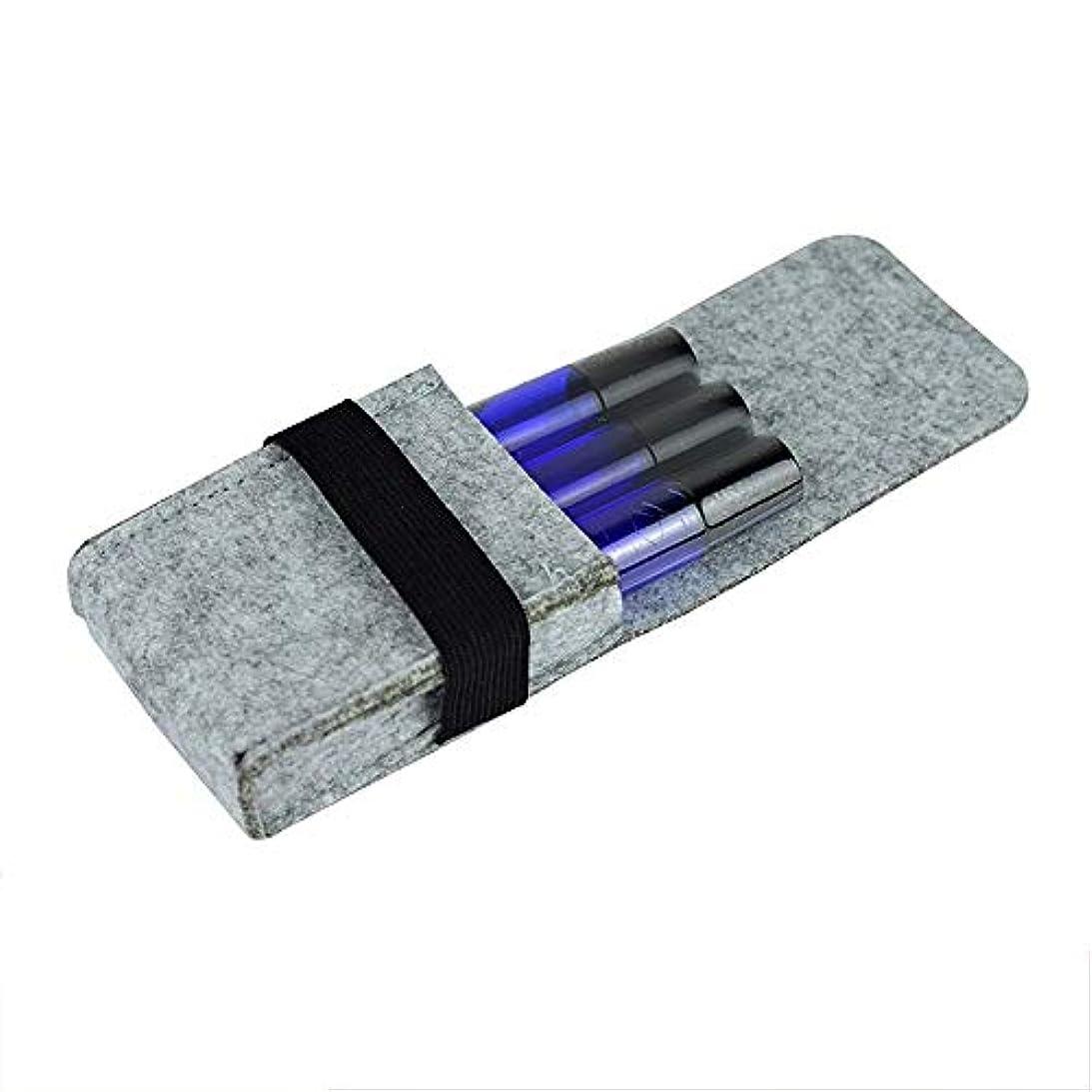 枠正気用語集エッセンシャルオイルボックス エッセンシャルオイル収納ボックス革トラベルバッグオーガナイザーポーチフェルトオイルボトル10MLを手に入れました アロマセラピー収納ボックス (色 : グレー, サイズ : 10X6.5X2.5CM)