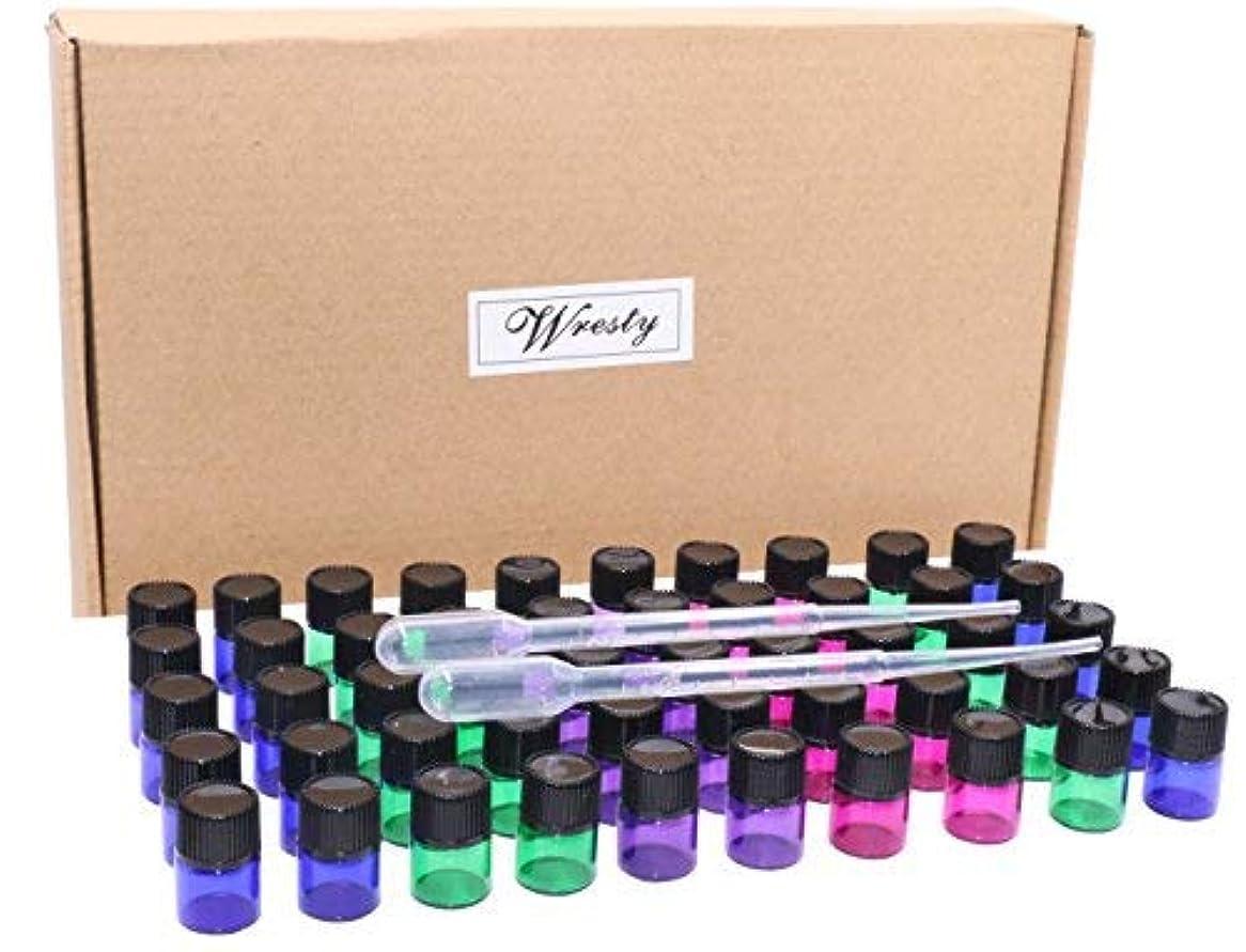 支配する敬うねる1ml(1/4 Dram) Glass Sample Vials 50 Pcs Multicolor(blue,green,pink,purple) Empty Mini Essential Oils Bottles With...