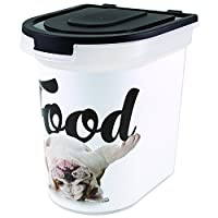 Paw Prints 26 Pound Plastic Rolling Pet Food Bin Carlos the Bulldog Design Includes Measured Scoop 15.5 x 16.75 x 13.25 Inches (37579) [並行輸入品]