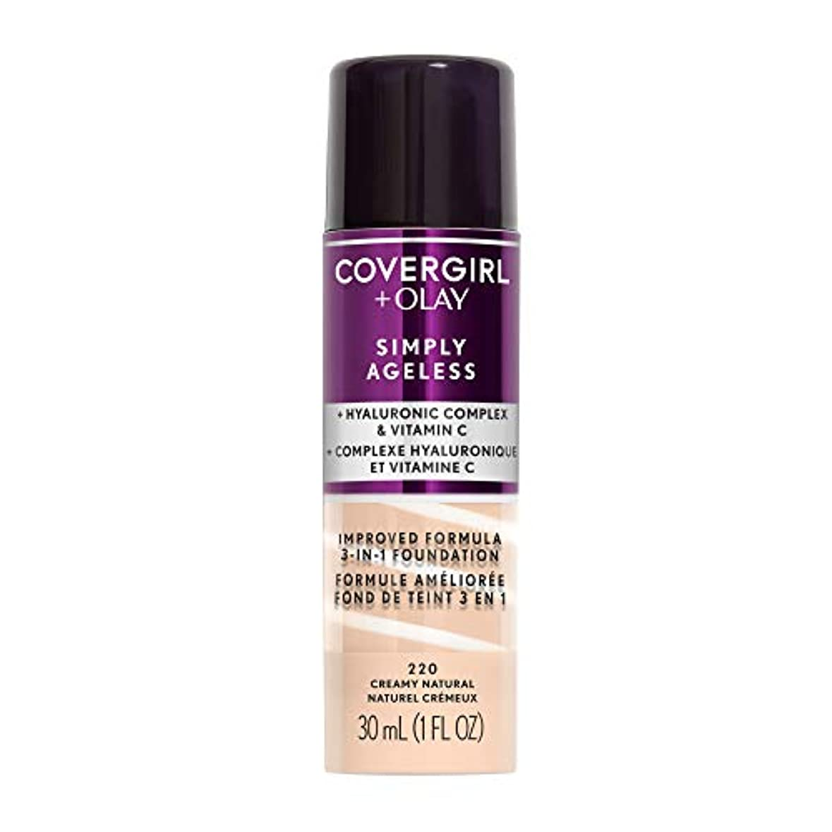 動詞高めるスムーズにCOVERGIRL Simply Ageless 3-in-1 Liquid Foundation - Creamy Natural 220 (並行輸入品)