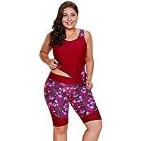 Maketina Women's Sleeveless Top and Cropped Pants Two Piece Tankini Swimsuit