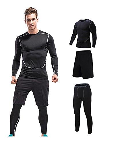 コンプレッションウェア 3点セット 長袖シャツ スポーツ トレーニング ブラック M