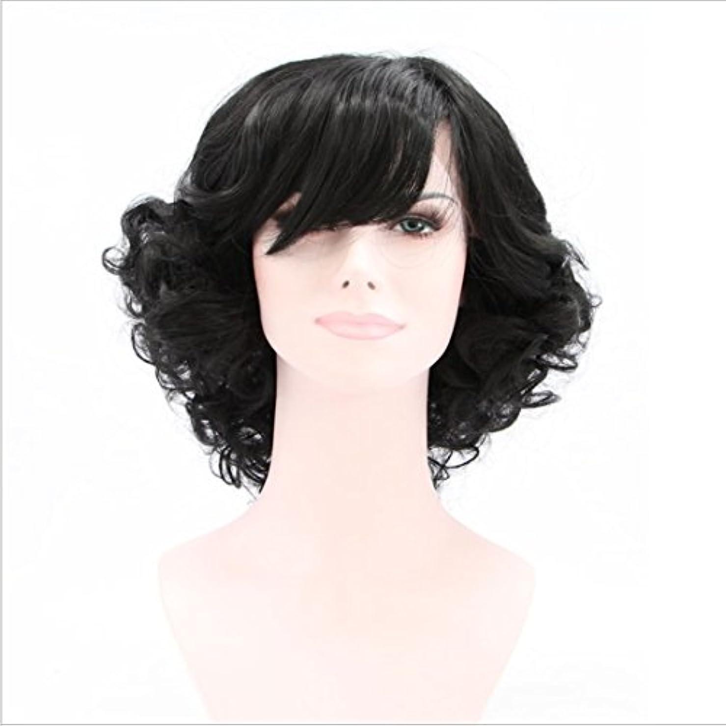艦隊システムサイズYOUQIU フル?ハンドウィービングカーリーヘアウィッグのために斜め前髪ナチュラルブラックウィッグで高温シルク人工毛の女性のレースのフロント用ショートカーリーウィッグ (色 : 黒)