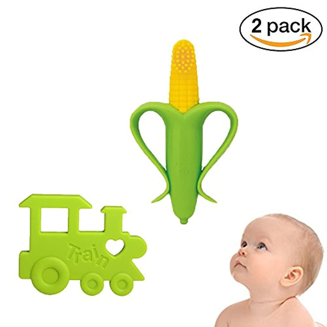 アンタゴニストシンプルなええ電車チュアブル歯が生える玩具、痛み歯茎の痛みを軽減、BPAフリーでINCHANT赤ちゃんシリコーントレーニング歯ブラシやおしゃぶり