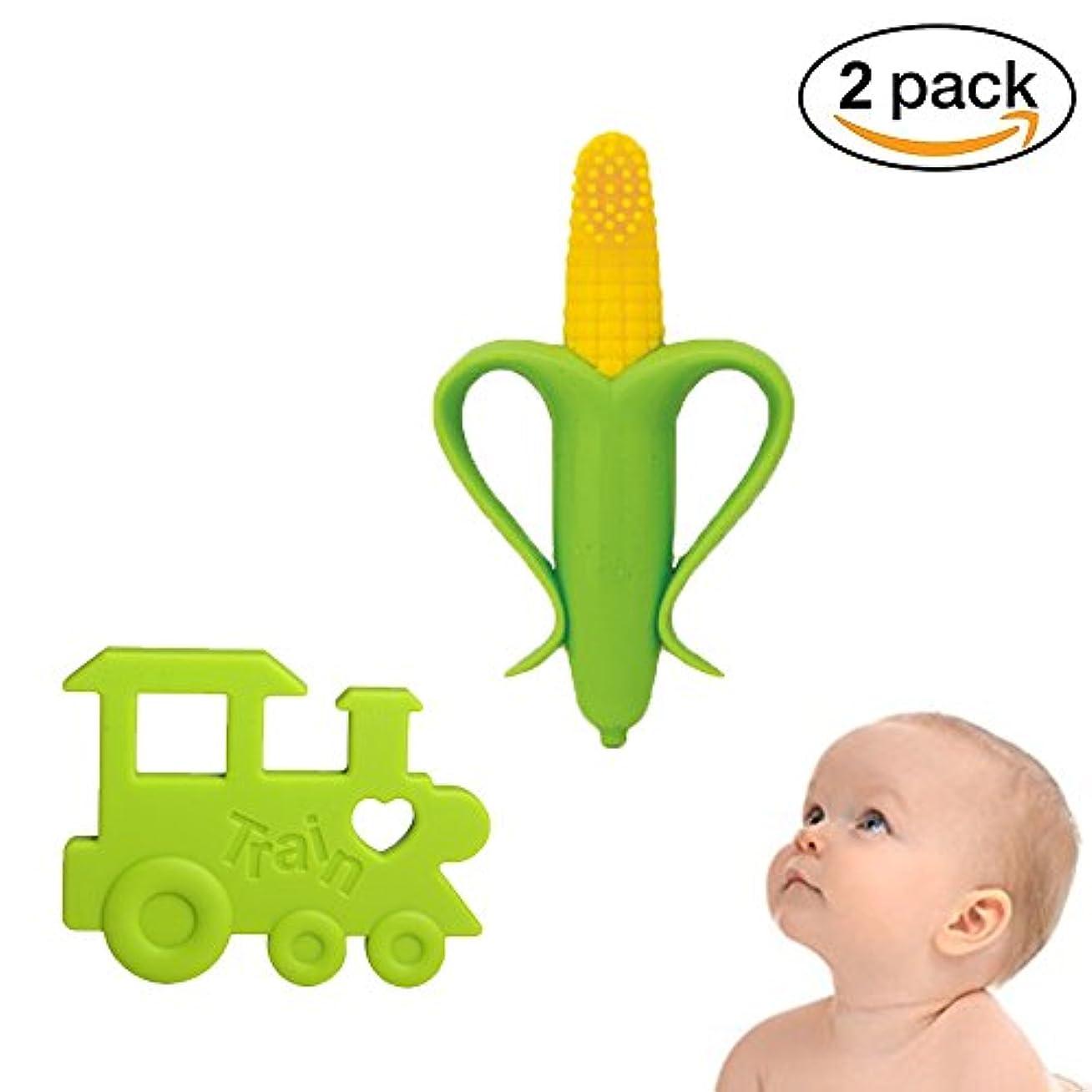 上陸海外見通し電車チュアブル歯が生える玩具、痛み歯茎の痛みを軽減、BPAフリーでINCHANT赤ちゃんシリコーントレーニング歯ブラシやおしゃぶり