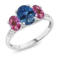 Gem Stone King 2.3カラット 天然 ミスティックトパーズ (サファイアブルー) 天然 ミスティックトパーズ (ピンク) 天然 ダイヤモンド 10金 ホワイトゴールド(K10) 指輪 リング