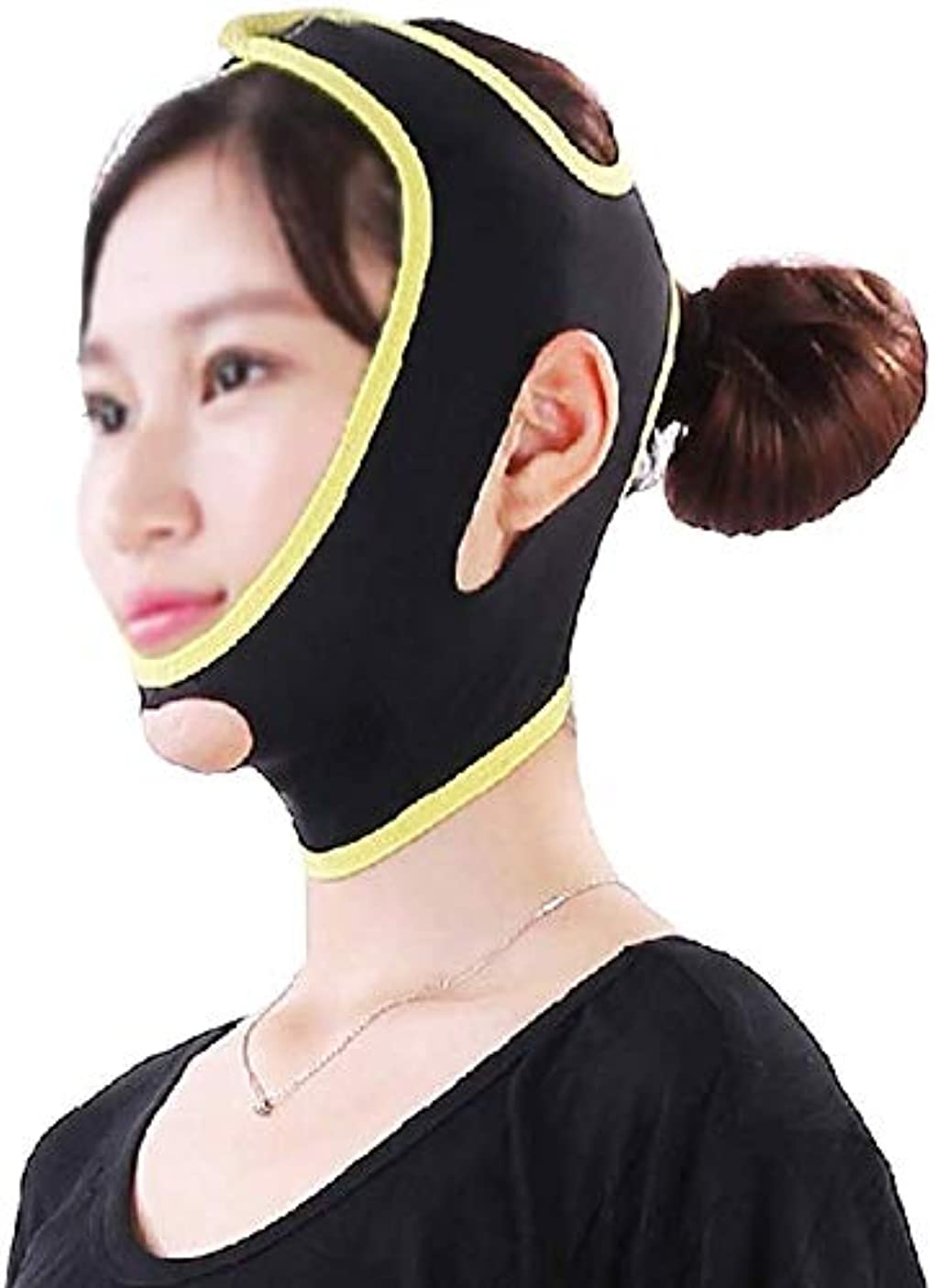 熱帯の配当結び目美容と実用的なフェイスアンドネックリフト、Vフェイスマスクは顔の輪郭を強化し、マッセターファーミングチンの超弾性包帯を緩和します(サイズ:M)