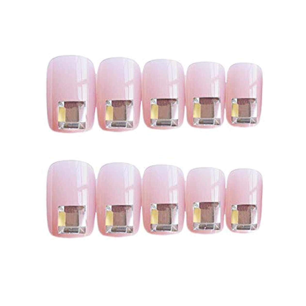謝る鮫閉じ込める流行のスタイル 広場 きらめくダイヤモンド 桜の色 手作りネイルチップ 3Dネイルチップ 24枚入