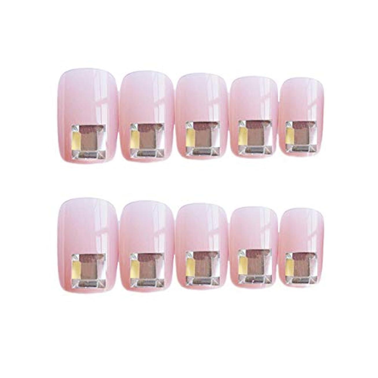 冷酷なうつ初期流行のスタイル 広場 きらめくダイヤモンド 桜の色 手作りネイルチップ 3Dネイルチップ 24枚入