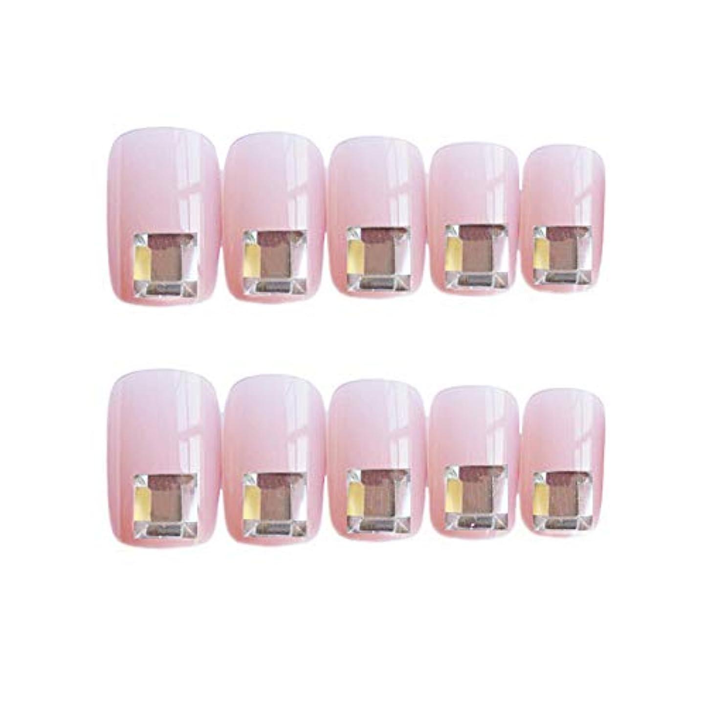 流行のスタイル 広場 きらめくダイヤモンド 桜の色 手作りネイルチップ 3Dネイルチップ 24枚入