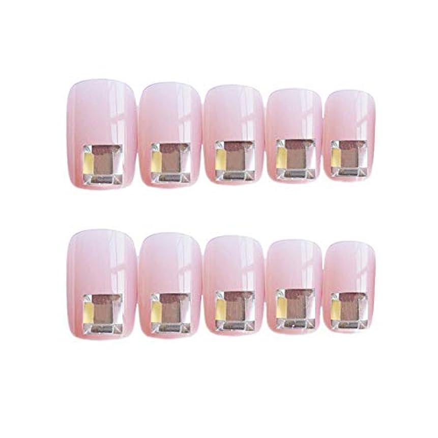 せせらぎバンドエキサイティング流行のスタイル 広場 きらめくダイヤモンド 桜の色 手作りネイルチップ 3Dネイルチップ 24枚入