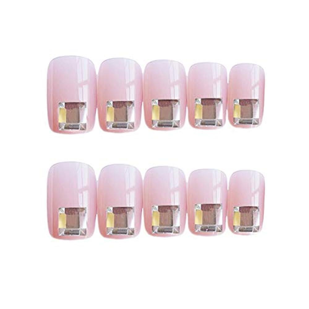 活気づける制限キノコ流行のスタイル 広場 きらめくダイヤモンド 桜の色 手作りネイルチップ 3Dネイルチップ 24枚入