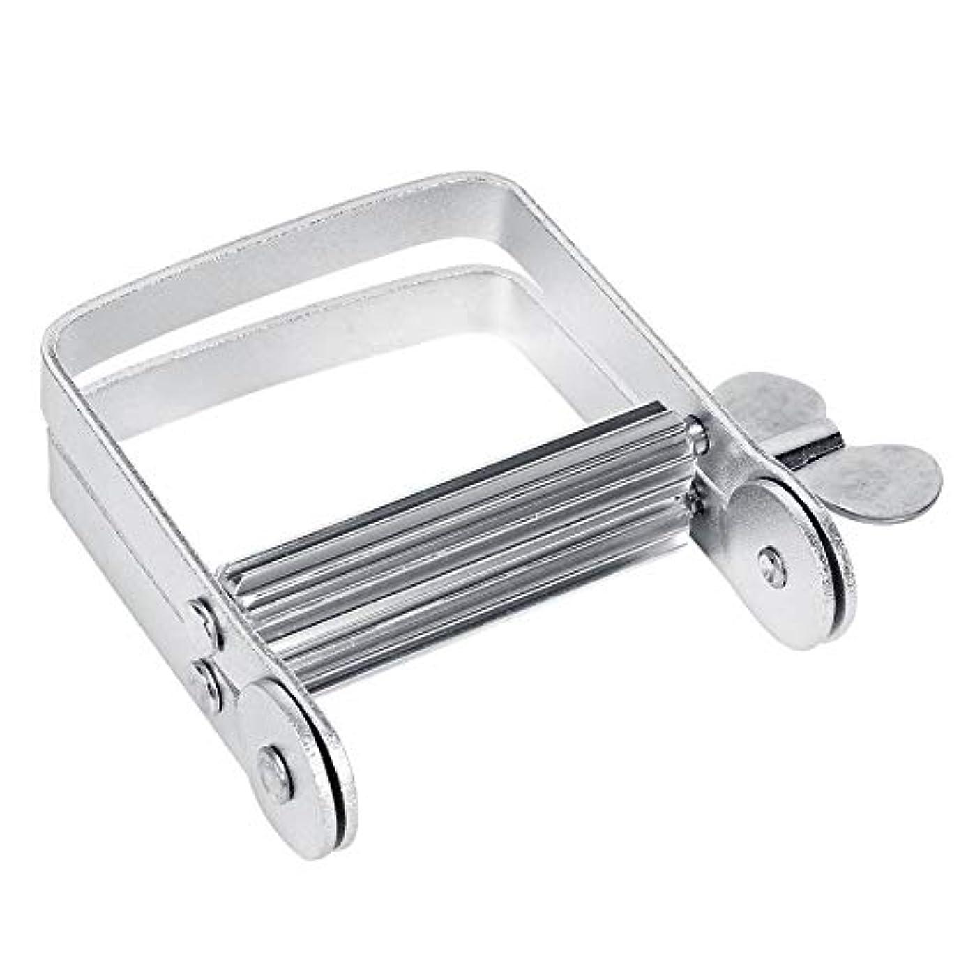 一掃するはねかけるギャングスターチューブ絞り器 チューブリンガー 軟膏押出器 アルミ製 歯磨き粉 絵の具 接着剤 洗面道具 便利 人気 シルバー