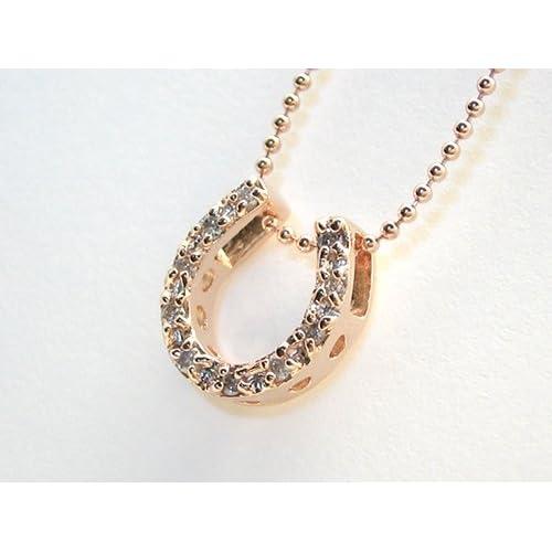 ダイヤモンド 幸運の馬蹄 ネックレス / ピンクゴールドコーティングタイプ