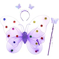 Amosfun 3pcs Fairy Butterfly Wings Wand Headband Fairy Fancy Princess Costume Set Carnival Costumes Children's Party Decoration Random Color