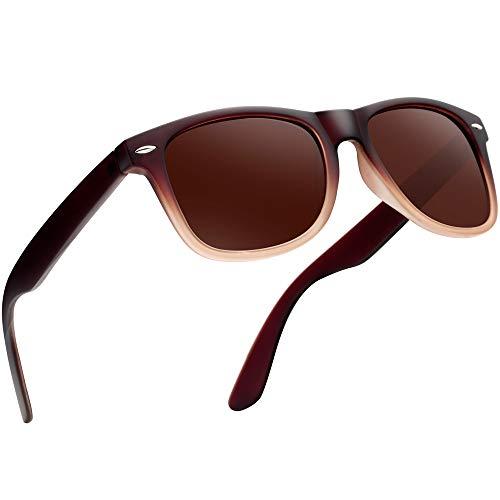 UVカットレディースサングラス UV400加工 男女共用 ユニセックス グラデーションブラウン